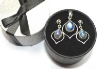 A SPECIAL OFFER Rainbow Moonstone Silver Pattern Pendant & Earring